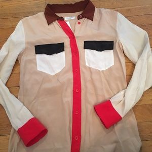 Equipment silk colorblock blouse